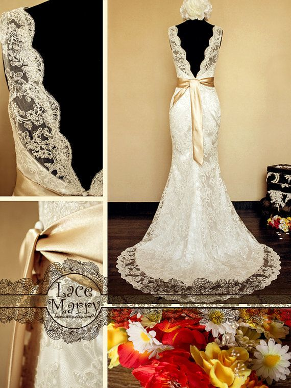 Deep VCut Back Vintage Style Lace Wedding Dress by LaceMarry, $284.00