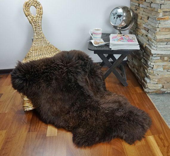 SHEEPSKIN Brown XL Throw Genuine leather Sheep Skin  Decorative Rug Brown, Carpet, Area Rugs, Cheap Rugs,  Chair Throw, Shag Throw