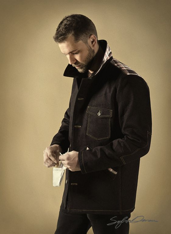 heavy black denim jacket with detail and lining in wool