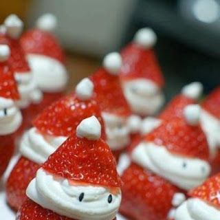 For a no-cook snack, make Santa strawberries. | 38 Clever Christmas Food Hacks That Will Make Your Life So Much Easier