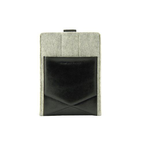"""Gary & Ghost iPad Mini 2/ Google Nexus 7 / Samsung Tab2 7"""" Sleeve Case Cover by Pure Wool Felt and Vegetable Tanned Leather with Stand Up Feature (Grey Wool Felt and Black Leather) by D-Park, http://www.amazon.co.uk/dp/B00BMMLMZC/ref=cm_sw_r_pi_dp_lBjvtb1VH7X5G"""