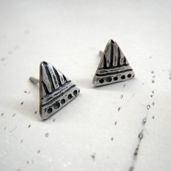 Triangle Sterling Silver ear studs. Ready to ship by applenamedD