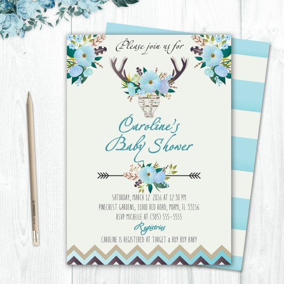 Blue Boho Baby Shower Invitation Bullhead by CutePaperStudio