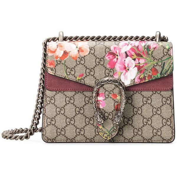 Gucci Mini Dionysus Blooms Shoulder Bag ($1,650) ❤ liked on Polyvore featuring bags, handbags, shoulder bags, multi, floral handbags, chain shoulder bag, structured handbag, canvas purse and canvas shoulder bag