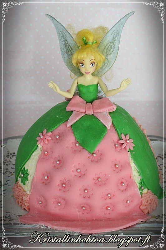 Nukkekakun teko-ohje Dollcake tutorial Helinä-keiju kakku / Tinker Bell cake