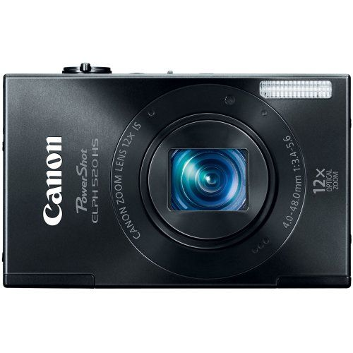 Canon PowerShot ELPH 520 HS 10.1 MP CMOS Digital Camera with 12x Optical Image Stabilized Zoom 28mm Wide-Angle Lens and 1080p Full HD Video Recording (Black)