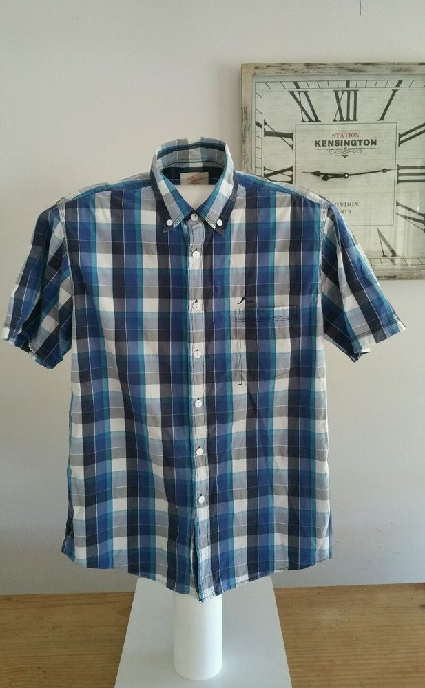 RM Williams Blue Check Short Sleeve Shirt Size Large Classic Fit  #rmwilliams #thebushoutfitters #countryclothing