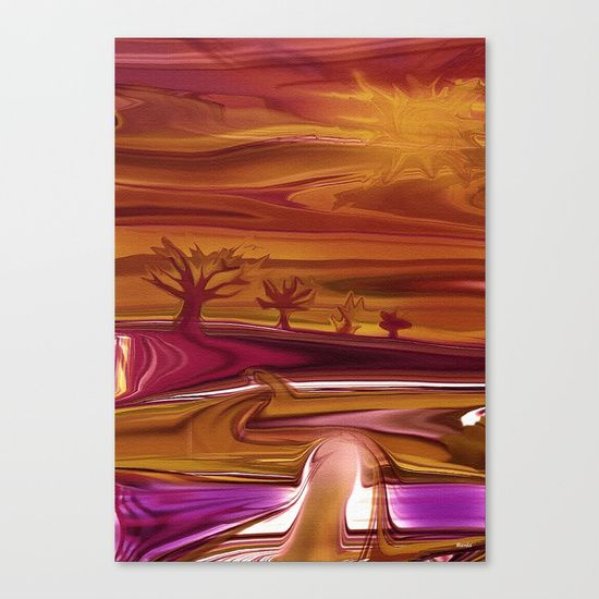 "Psychedelic landscape Digital Illustration. Fine art print on bright white, fine poly-cotton blend, matte canvas using latest generation Epson archival inks. Individually trimmed and hand stretched museum wrap over 1-1/2"" deep wood stretcher bars. Includes wall hanging hardware."