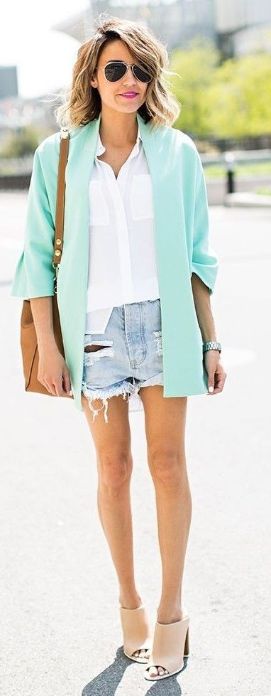 Mint Blazer, White Shirt, Distressed Denim Shorts, Nude Mules | Hello Fashion