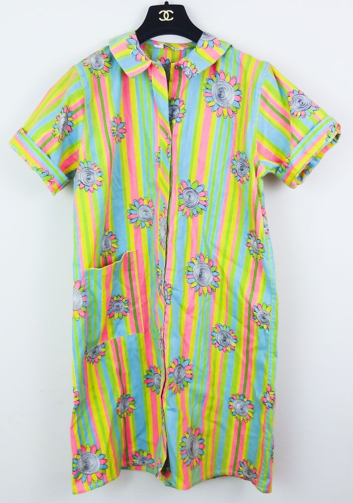 ~VINTAGE HIPSTER~ 1970'S BOHO HIPPIE FLORAL STRIPE COTTON SHIRT DRESS MEDIUM #20THCENTURYWEAR #ShirtDress