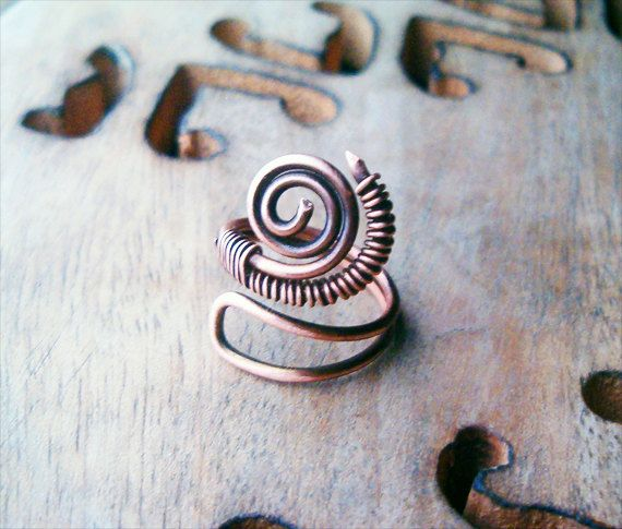 Wire Wrapped Adjustable Copper Ring  wire wrapped by GearsFactory, €12.00