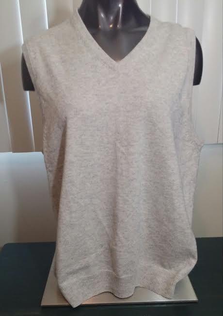J Crew mens sweater vest v neck cotton cashmere beige style 87908 XL #JCrew #Vest