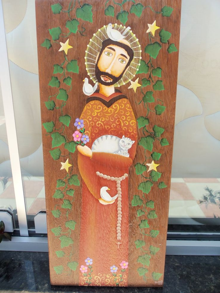 Esta é uma das minhas pinturas, São Francisco de Assis, é inspirado na pintura do artista Madu Lopes, só que ele pinta em madeira com tint...