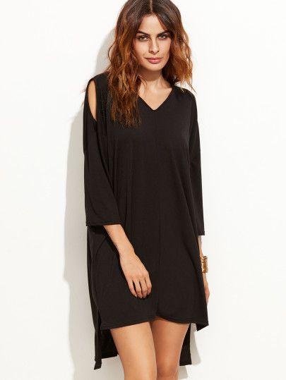 Black Open Shoulder Slit Side High Low Tee Dress