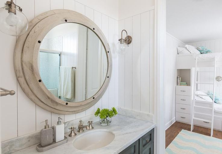 Kids Cottage Bathroom Features Vertical Shiplap Walls