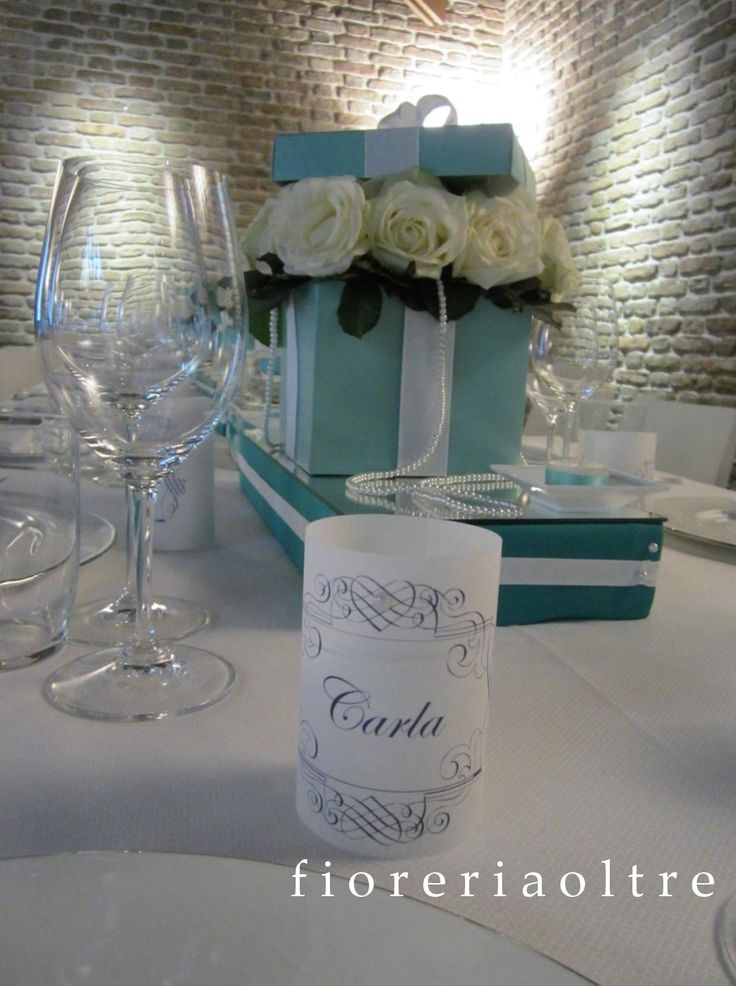 Fioreria Oltre/ Breakfast at Tiffany's themed party/ Mini paper lantern place…