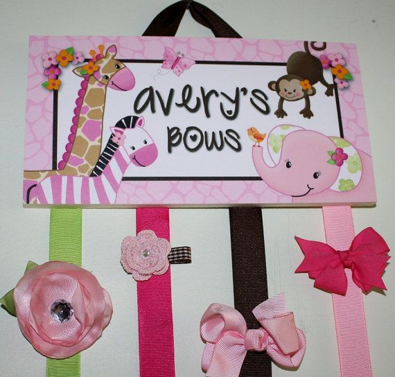 HAIR BOW HOLDER - Personalized Pretty Pink Jungle HairBow Holder - Bows and Clippies Organizer - Girls Personal Hair Bow and Clip Hanger on Etsy, $22.00