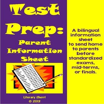 Test Prep: Bilingual Parent Information Sheet (Grades 5, 6, 7, 8)