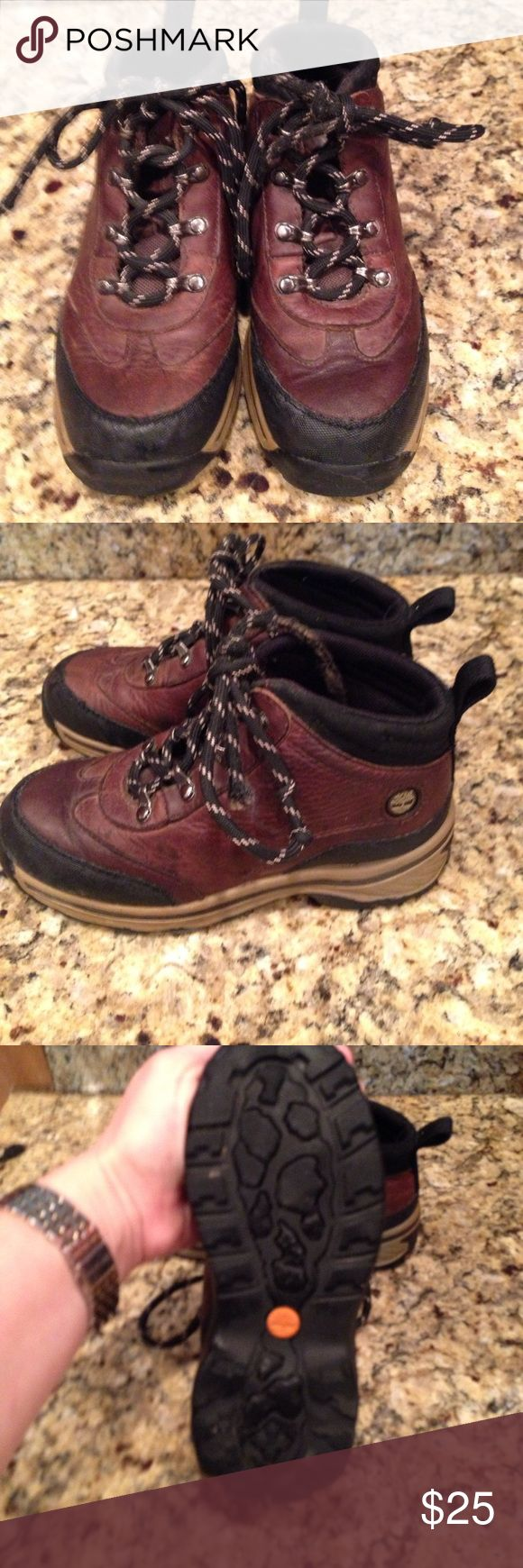 Boys Timberland Boots These shoes are in perfect condition except laces. My son liked to pull the plastic part off the ends so will need new laces. Otherwise these boots were only worn twice. Timberland Shoes Boots