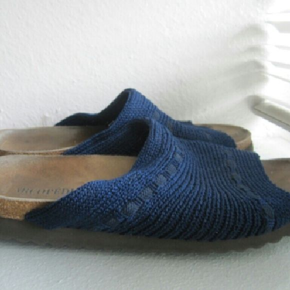 Arcopedico 40 slide sandals crocheted knit Navy blue US 9 orthopedic used Arcopedico Shoes Sandals