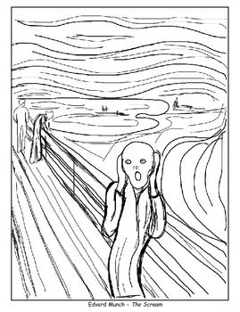 Coloring Pages - The Scream, American Gothic, Beasts of the Sea, and O'Keeffe's Poppy