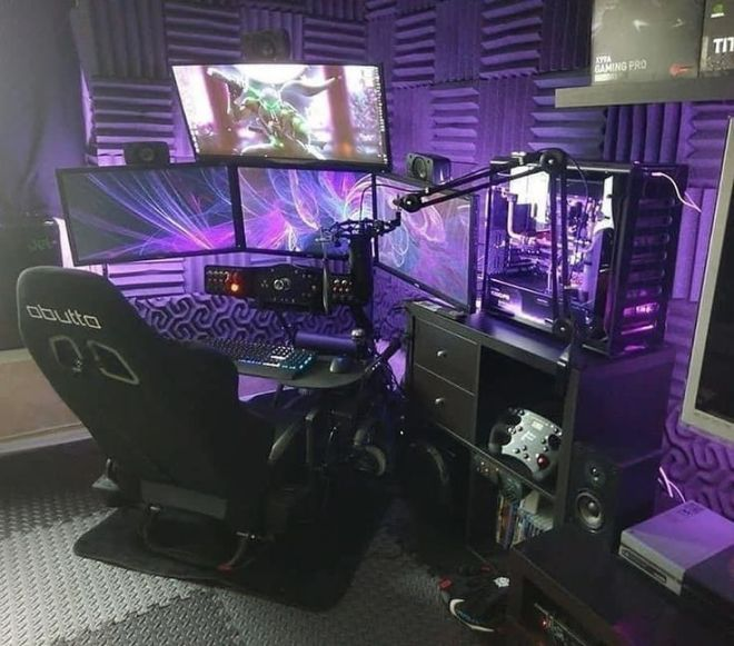 40 Best Video Game Room Ideas For Gamers Guide Ps4 Ideas Of Ps4 Ps4 Playst Computer Gaming Room Video Game Room Design Gaming Room Setup