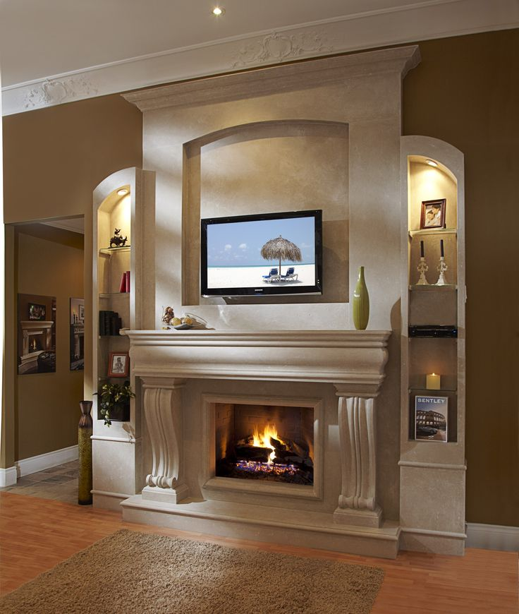 A beautiful Classic Stone Fireplace Mantel installation!