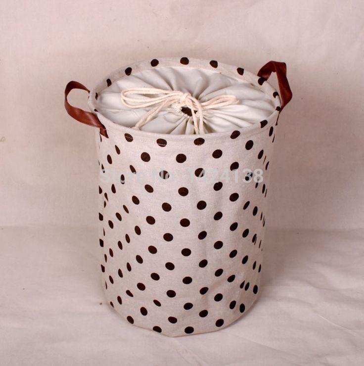 dot design fabric storage basket with clock cloth ,laundry basket
