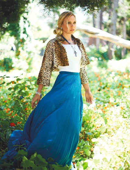 A cobalt blue maxi skirt with trendy pleats and statement cropped leopard print jacket give our blue items some fashion forward direction.
