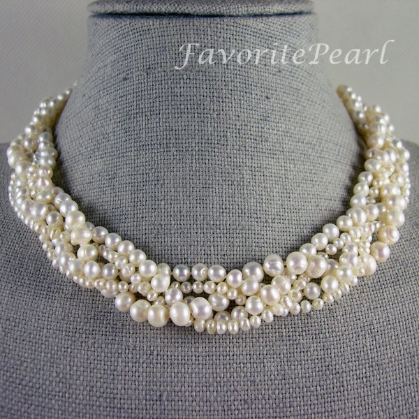 White Pearl Necklace, Wedding Pearl Necklace - 18 Inches 5 Rows 3-8mm White Genuine Fresh Water Pearl - Free Shipping. $33.00, via Etsy.