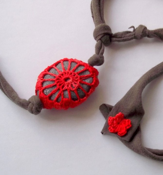 fake polymer clay stone & crochet