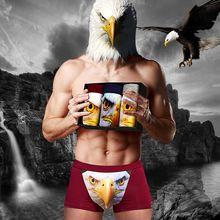 4pc/Lot Men Fashion 3D Boxer Shorts High Quality Man Cotton Underwear,3D Wolf Boxer Short Male Ucrotch Panties Underpants(China)