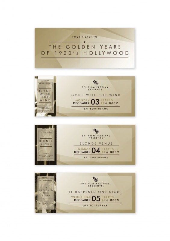 BFI // Ticket design | Ticket design for British Film Institute 1930's the Golden Years of Hollywood film festival. http://www.theloop.com.au/lostracco/portfolio/brochure-student-project/53859