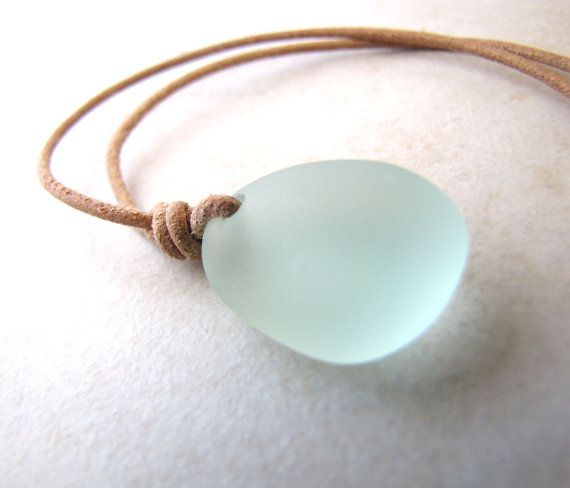 Leather Sea Glass Necklace Seaglass Aqua Leather AdjustableNecklace Recycled Eco BellinaCreations