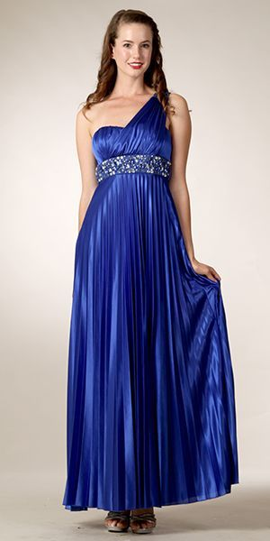 Long Royal Blue One Shoulder Dress Pleated Empire Waist Rhinestones $132.99