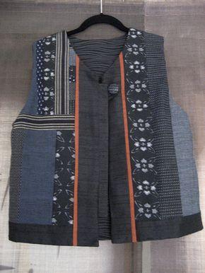 Kimono Silk & Kasuri Vest by Waka Ozawa