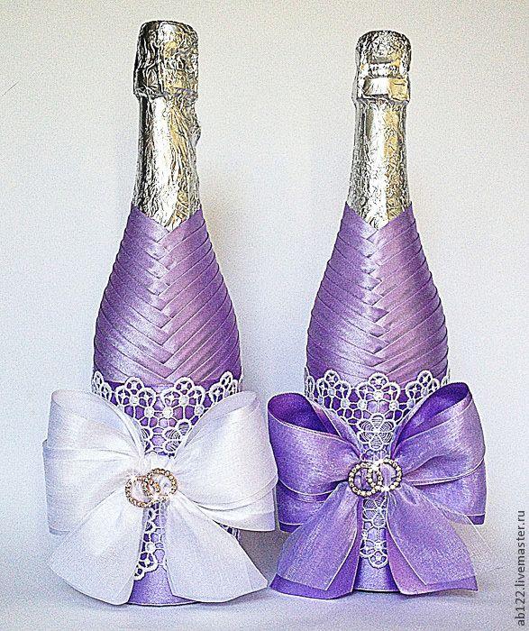 Купить Свадебное шампанское - сиреневый, сиреневая свадьба, свадебное шампанское, свадебные пригласительные