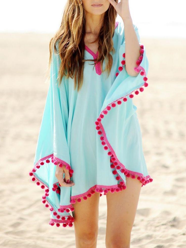 Blue Oversize Pom Pom Chiffon Poncho Cover Up Dress - Choies.com