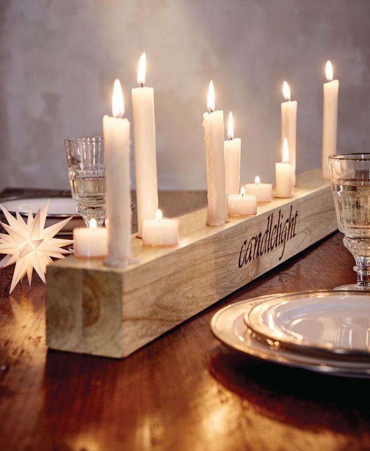 "Kerzenhalter, Holz, Eingefrästem Wording ""candlelight"""