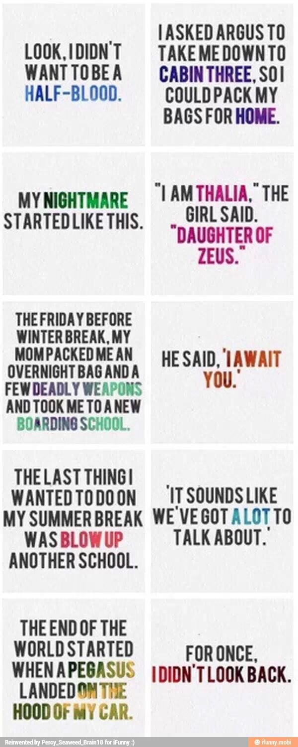 First and last sentences of the Percy Jackson and the Olympians series!