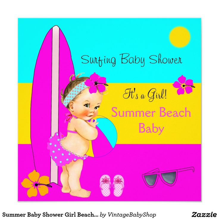 Summer Baby Shower Girl Beach Surfing Brunette Card