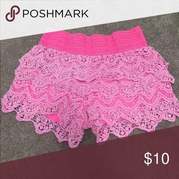 Lace shorts Neon bubblegum pink lace tiered shorts. In great used condition! Size S in juniors! I purchased these from Dillard's. Shorts