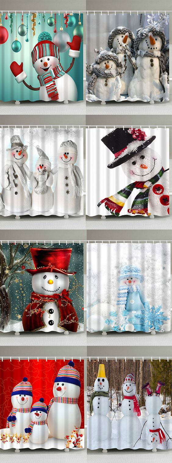 50% OFF Christmas Snowman Shower Curtains,Free Shipping Worldwide.