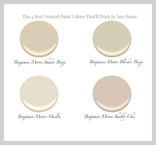 The 4 Best Neutral Paint colors that will work in any home: Benjamin Moore Shaker Beige. Benjamin Moore Bleeker Beige. Benjamin Moore Muslin. Benjamin Moore Shabby Chic. #shadesofneutralpaintcolours
