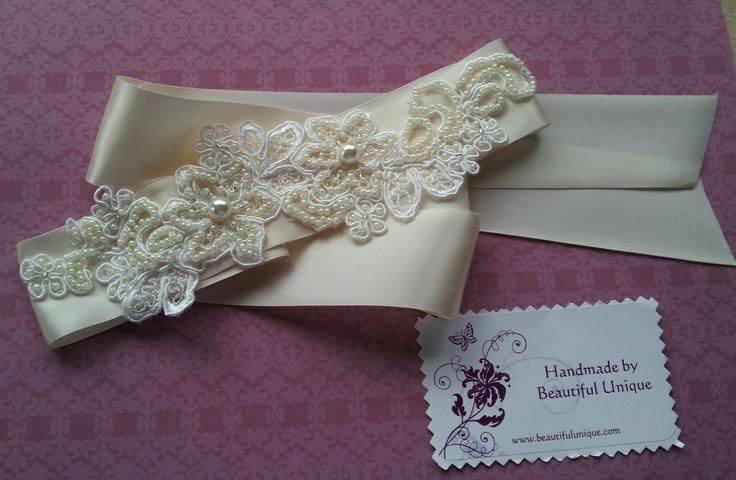 Handmade Ivory & lace bridal belt from Beautiful Unique