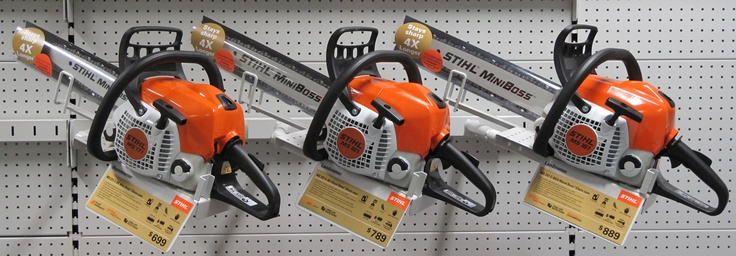 STIHL Chainsaws briefed SAM Sales and Marketing to develop a Point of Sale display piece to promote STIHL's super tough, Rapid Duro, Tungsten saw chain. SAM designed and fabricated a clear plastic safety scabbard to draw customer attention to a range of new chainsaw models, fitted with Rapid Duro chain.