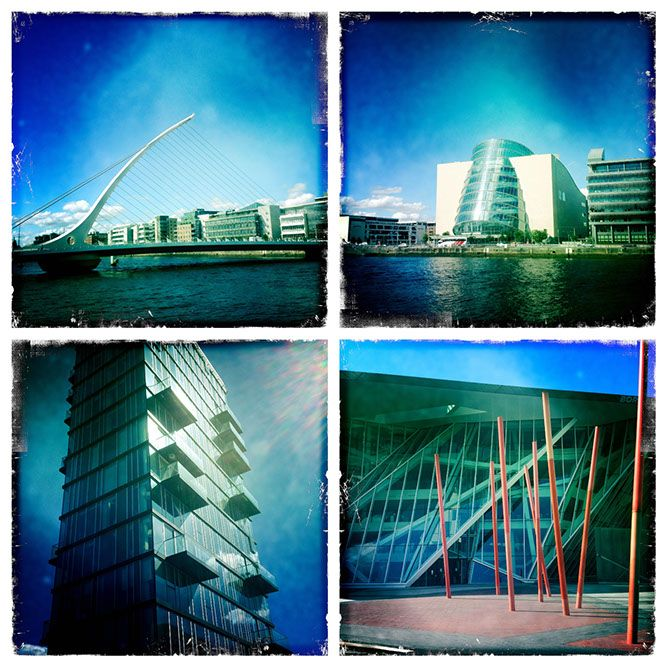 A photograph by photographer Niall O Cleirigh of Grand Canal Dock showing the bridge, the Conference Centre and the Theater and an apartment... www.essentia.ie
