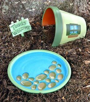 Toad abode. This would be so much cuter than the plain terra cotta pot we have now.