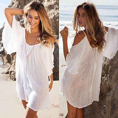 New Fashion Women Beach Dress Off Shoulder Spaghetti Strap Half Sleeve Bikini Cover Up Sundress White