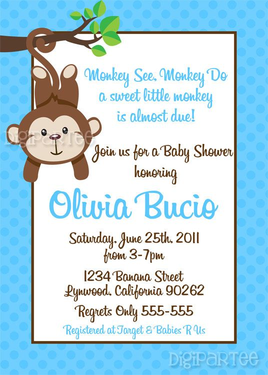 monkey baby shower invitation by dpdesigns2012 on etsy